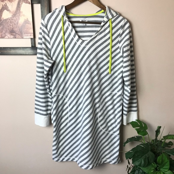 6267616e43f43 DKNY Other - DKNY Gray & White Striped Hoodie Swim Cover up